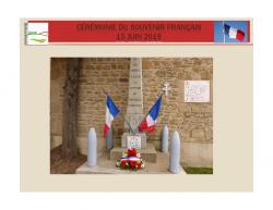 Cérémonie du souvenir Français – 15 Juin 2019